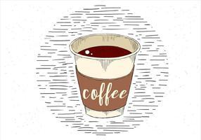 Gratis handdragen vektor kopp kaffe illustration