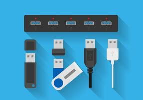 USB-Port flache Ikone Freier Vektor