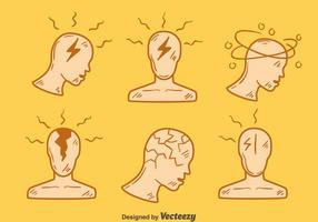 Handdragen huvudvärk element vektor