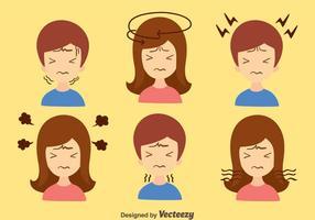 Junge Und Mädchen Kopfschmerzen Vektor