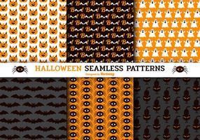 Söt Halloween Seamless Vector Patterns