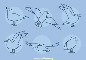 albatross linje ikoner vektor