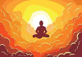 Buddah auf Wolken Vektor-Illustration