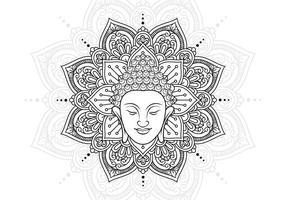 Buddhahuvud och Lotus Mandala vektor