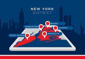 New York District Map Gratis Vector