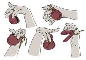 Castaneter i handen Pose Hand Drawn Vector Illustration