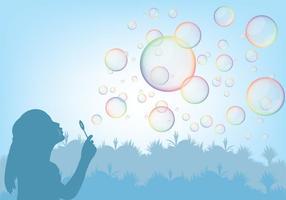 Tjej Spelar Med Bubbla Blåsare Vektor
