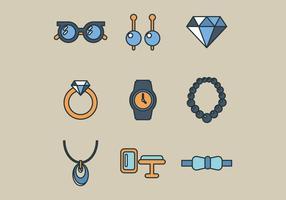 Umrissene flache Juwelen vektor