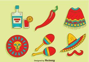Hand gezeichneten mexikanischen Element Vektor