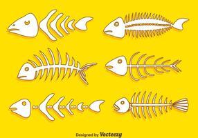 Handdragen Fishbone Collection Vector