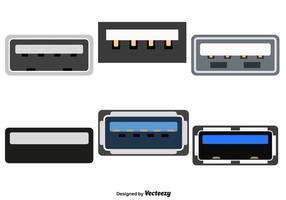 Vektoruppsättning med USB-färgikon