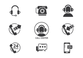Call Center Icons Vektor