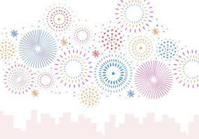 Set Feuerwerk In Weißem Hintergrund vektor