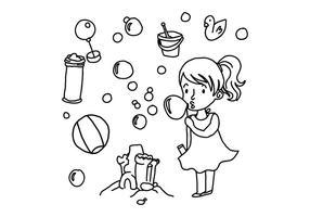 Bubbles und Spielzeug Gekritzel Vektoren für Kinder