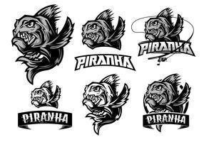 premium piranha logo element vektor