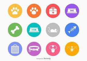 Weiße Silhouette Katze Und Hund Vektor Icons