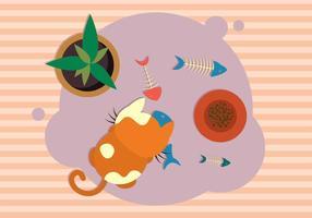 Katt med Fishbone Illustration