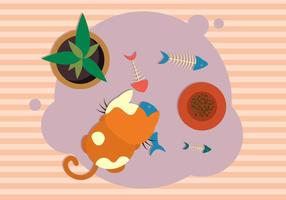 Katze mit Fishbone Illustration