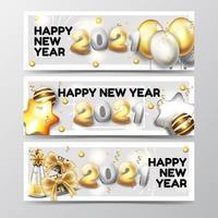Satz Frohes neues Jahr Banner vektor