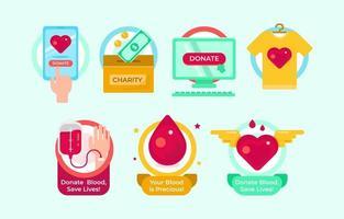Satz von Etiketten für Spendenprogramme vektor