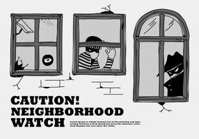 Rånar grannskap titta på fönstersvektor illustration