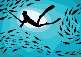 Spearfishing Vektor Hintergrund