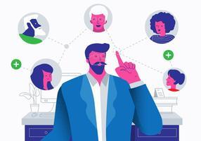 Hänvisning Affärsmänniskor Vektor Platt Illustration