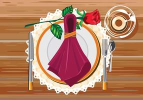 Braun Tisch weiss Restaurant Serviette mit Messer, Gabel und Serviette vektor