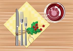 Rustikale Tischdekoration mit Serviette vektor
