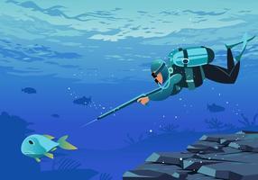 Spearfishing Unterwasser Vektor