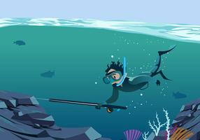 Spearfishing Underwater Vector Scene