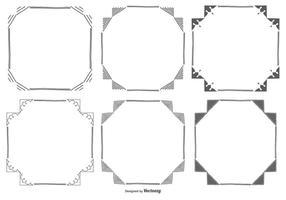 Handdragen Square Frame Collection vektor