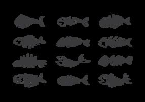 Fishbone Ikoner Vector
