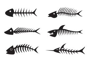 Svart Fishbone Silhouette Vector