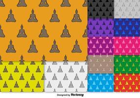Vektor Buddha Ikon SEAMLESS Pattern Set