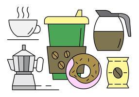 Gratis Linjär Kaffe Ikoner vektor