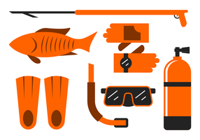 Spearfishing Ausrüstung Vektor