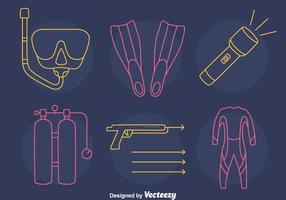 Spearfishing Element Line Icons Vektor