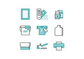 kostenloser Siebdruck Icon Set vektor