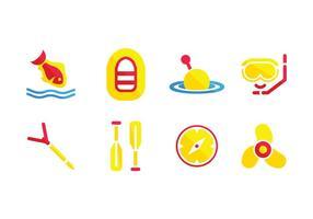 Fiskeutrustning ikoner vektor