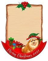 leeres Holzbrett mit Frohe Weihnachten 2020 Schriftlogo und niedlichem Hund vektor