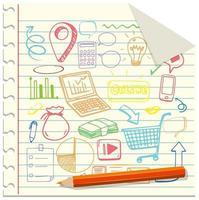 uppsättning sociala medier element doodle på papper
