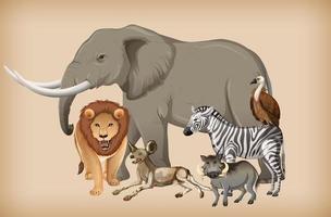 Gruppe von Wildtieren auf Hintergrund vektor