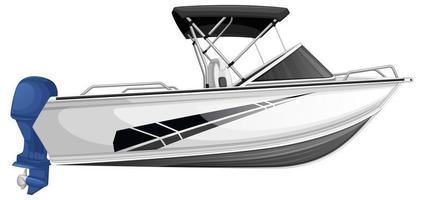 Schnellboot oder Motorboot lokalisiert auf weißem Hintergrund