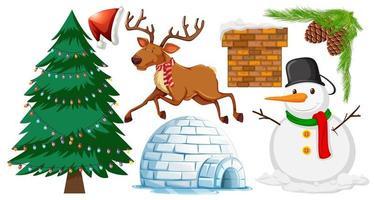 Satz von Weihnachtsobjektikonen lokalisiert auf weißem Hintergrund