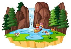 två barn ror båten vid vattenfall med sitt husdjur på vit bakgrund vektor