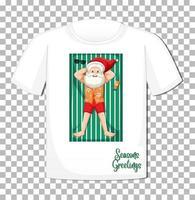 Weihnachtsmann-Karikaturfigur im Weihnachtssommerthema auf T-Shirt auf transparentem Hintergrund