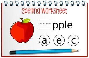 finde fehlenden Buchstaben mit einem Apfel vektor