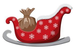 Weihnachtsschlitten lokalisiert auf weißem Hintergrund