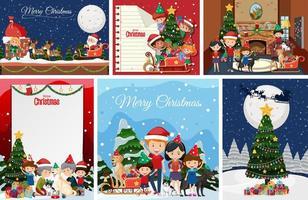 Satz leere Weihnachtspostkarte oder -plakat isoliert